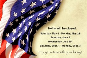 Nell's Summer Closing